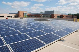Solar panels at AstraZeneca's Wilmington, DE Campus