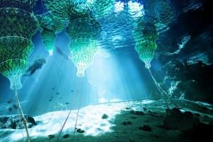 Cuba, Enrique el Pelu cove, sunlight reaching underwater caves