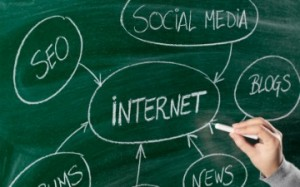 Drawing internet concept on blackboard